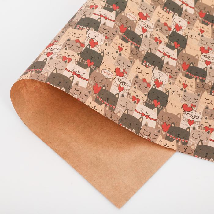 3724573 Бумага упаковочная крафтовая «Котики», 50 × 70 см