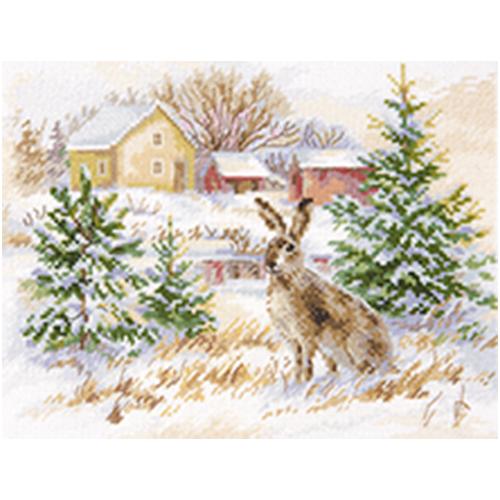 1-31 Набор для вышивания АЛИСА 'Зимний день. Заяц-русак' 23x17см