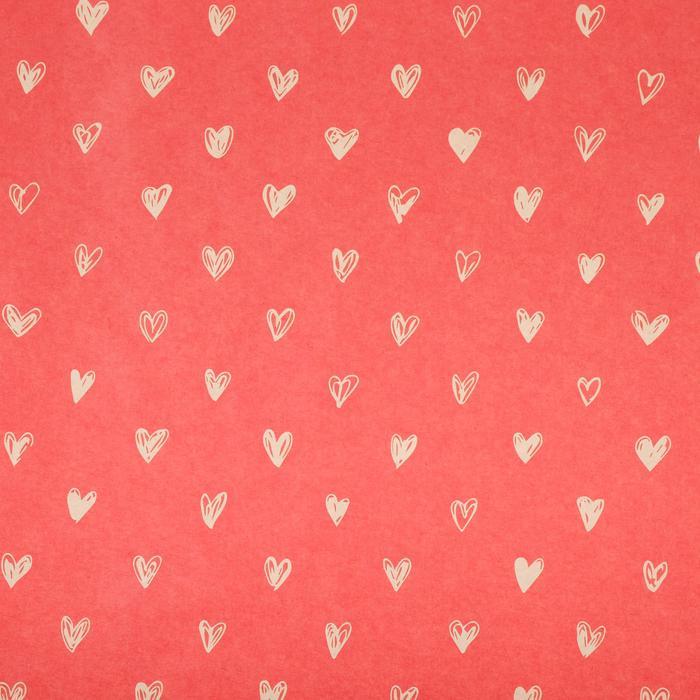 4580640 Бумага крафтовая «Сердечки», фон красный, 50 × 70 см