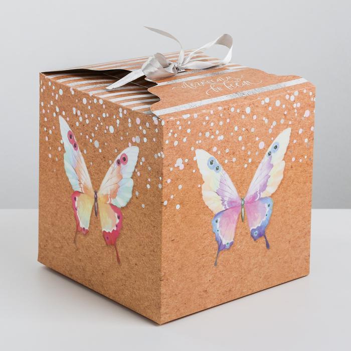 3680729 Коробка складная «Лёгкости во всем», 18 х 18 х 18 см