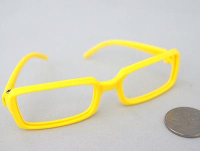 26287 Очки без стекла , пластик,прямоугольные, 8 см , (1шт) желтый