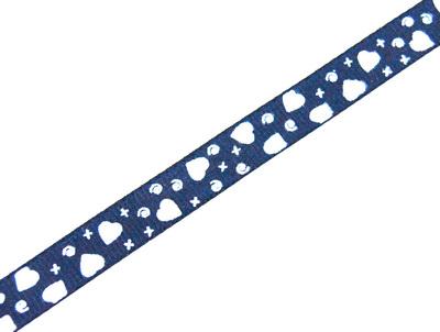 24475 Лента ID 1074 репсовая с рисунком 1,0см.*45,72м, цв.т. синий