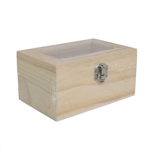 61682300 Деревянная шкатулка со стеклянной вставкой, 12*8*6см, Glorex