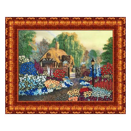 КЛ(н)-3005 Набор для вышивания лентами 'Цветы у дома' 25,5*35см