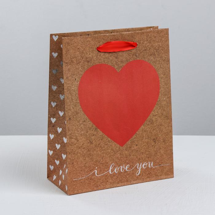 3681073 Пакет крафтовый вертикальный i love you, S 12 × 15 × 5.5 см