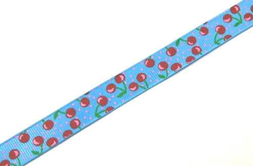 22065 Лента ID 1505 репсовая с рисунком 1,5см.*45,72м, цв. голубой