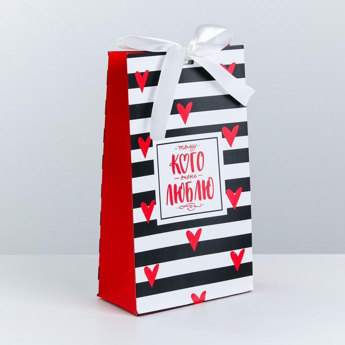 3747867 Пакет подарочный с лентой «Тому, кого люблю», 13 × 23 × 7 см