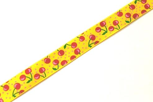 22067 Лента ID 1507 репсовая с рисунком 1,5см.*45,72м, цв. желтый
