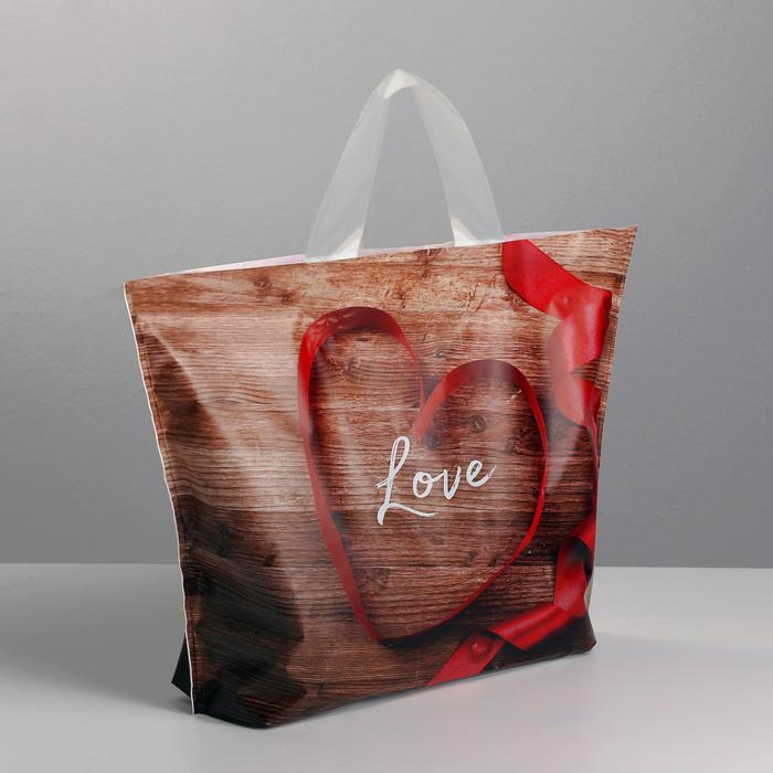 3795680 Пакет полиэтиленовый с петлевой ручкой Love, 35 × 25 см