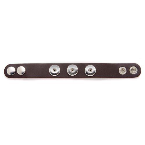 61632104 Кожаный браслет с 3 кнопками, 22 см, тёмно-коричневый цвет Glorex