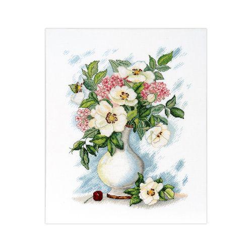 1234 Набор для вышивания Alisena 'Вишенка в натюрморте', по картинам В.Валевской, 22*27 см