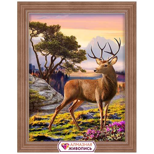 АЖ-1692 Картина стразами 'Благородный олень' 30*40см