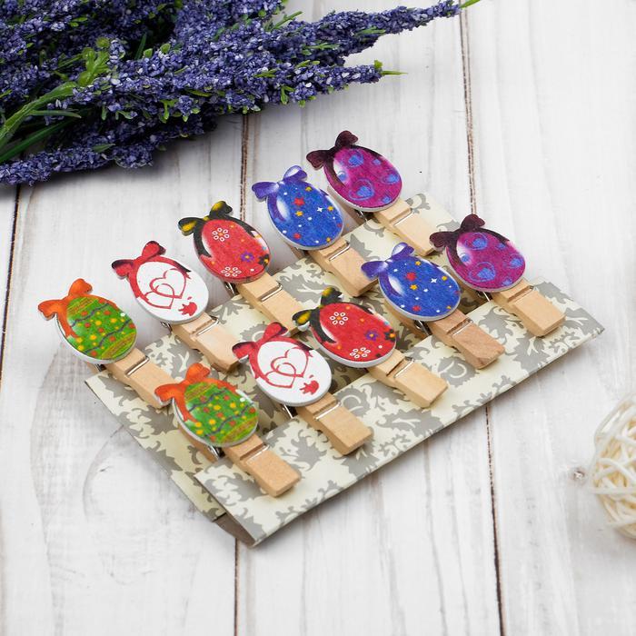 3949368 Прищепки декоративные с веревкой для подвеса 'Пасхальные яйца' набор 10 шт