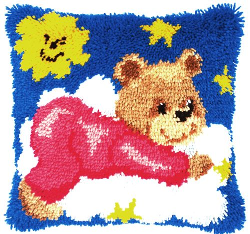 0014185-PN Подушка (ковровая техника) Vervaco 'Медвежонок в розовой пижаме' 40x40 см