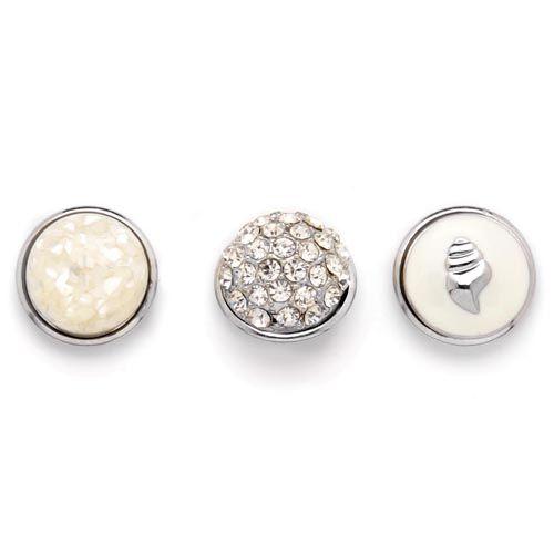 61632114 Декоративные кнопки для украшения, 19 мм, 3шт, слоновая кость/серебряный цвет Glorex