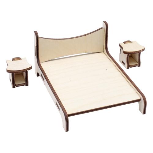 L-1129 Деревянная заготовка набор 'Кровать с тумбой' 11*11см АСТРА