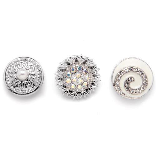 61632115 Декоративные кнопки для украшения, 19 мм, 3шт, белый/серебряный цвет Glorex
