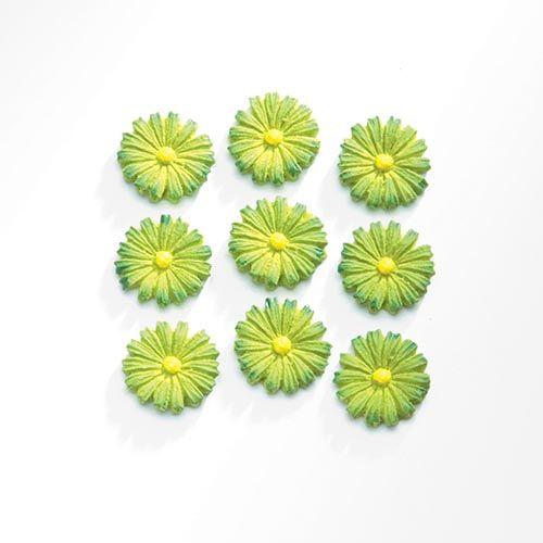63805402 Декоративный элемент 'Цветы', (полирезин), зеленый, 1,1*1,7 см, упак./9 шт., Glorex
