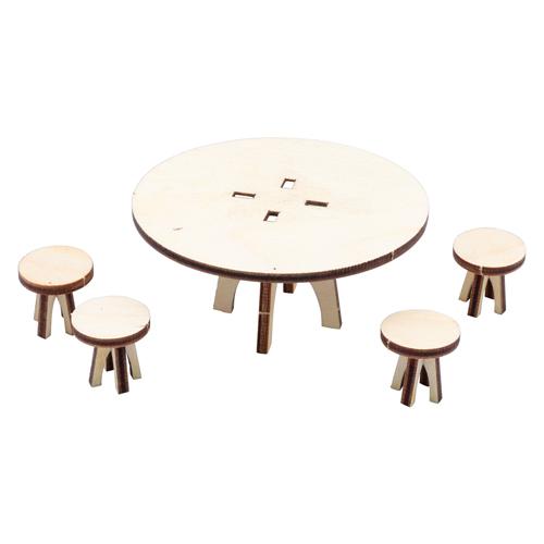 L-1131 Деревянная заготовка набор ' Стол с 4 табуретками '11*11см АСТРА