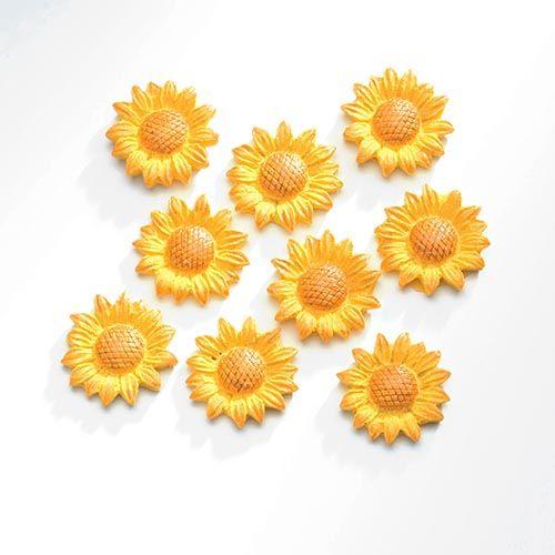 63805410 Декоративный элемент 'Подсолнухи', (полирезин), желтый, 2,1*2,1 см, упак./9 шт., Glorex