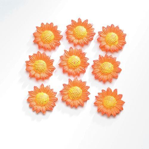 63805411 Декоративный элемент 'Подсолнухи', (полирезин), оранжевый, 2,1*2,1 см, упак./9 шт., Glorex