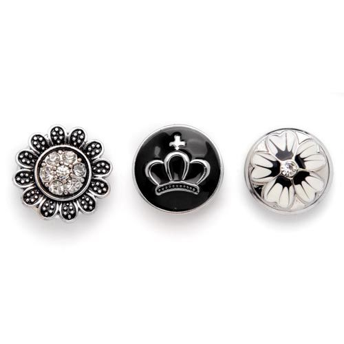 61632118 Декоративные кнопки для украшения, 19 мм, 3шт, чёрный/серебряный цвет Glorex