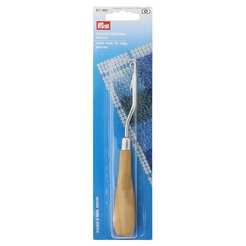 611865 Крючок для ткания ковров, согнутый, с деревянной ручкой, Prym