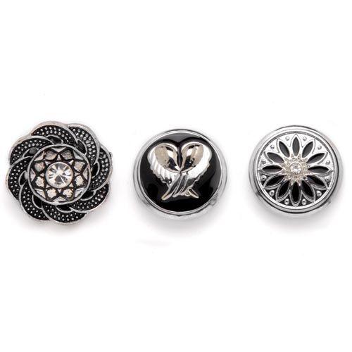 61632120 Декоративные кнопки для украшения, 19 мм, 3шт, серебряный цвет Glorex