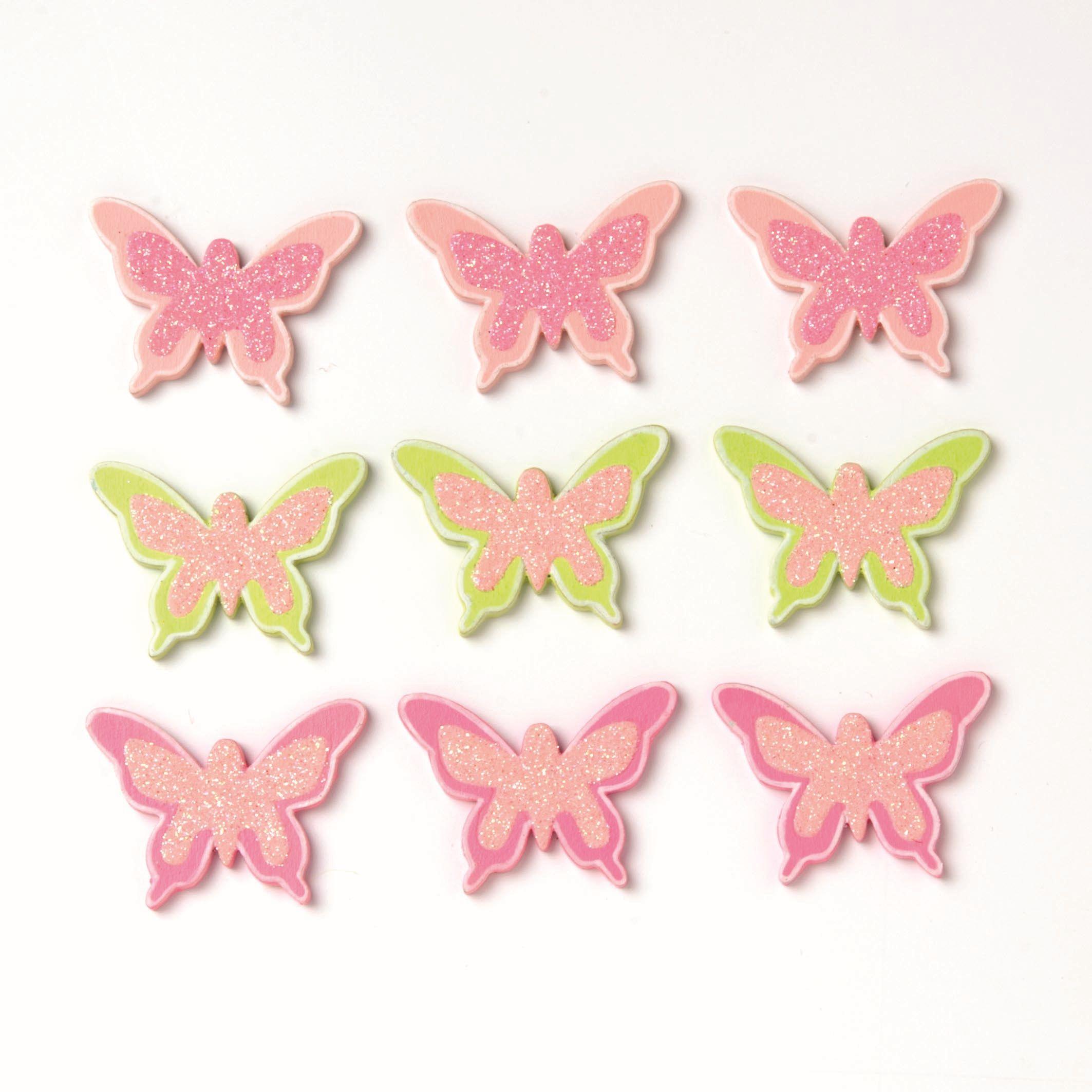 61710019 Фигурки из дерева 'Бабочка', 35 мм, упак./9 шт., Glorex