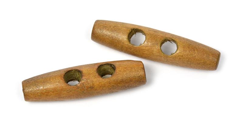 Пуговицы деревянные TBY BT.WD.027 цв.002 коричневый 80L-51мм, 2 прокола, 20 шт, BTWD0272