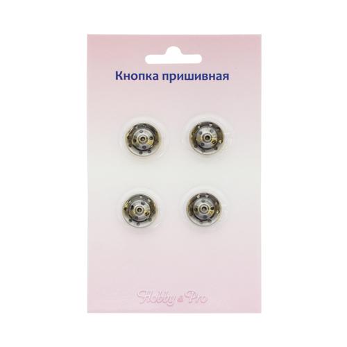 95108/09 Кнопка пришивная д-16мм тем/серебро упак(4шт) Hobby&Pro