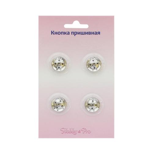 95114/15 Кнопка пришивная д-16мм никель упак(4шт) Hobby&Pro