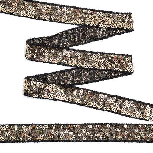 TDF02011 Тесьма с пайетками на сетке 20мм*13,7м, черный+золото
