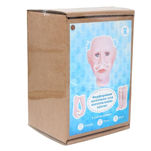 27027 НАБОР №3 'Дедушка' Фарфоровая заготовка для изготовления куклы: руки,ноги,голова гл.-карие