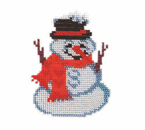 Б-0036 Набор для вышивания бисером 'Бисеринка' 'Снеговик', 9*11 см