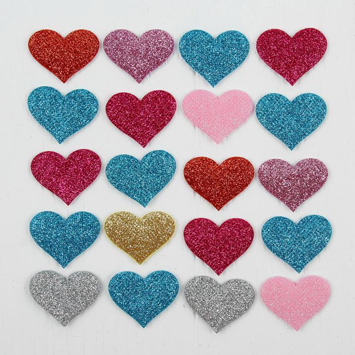 3944547 Сердечки декоративные, набор 20 шт, размер 1 шт 3,5*2,5 см, цвета МИКС