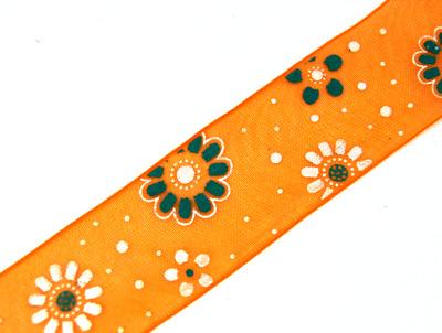 24583 Лента органза с рисунком JY - 2507 2,5 см*44,7м ± 1м, цв. оранж