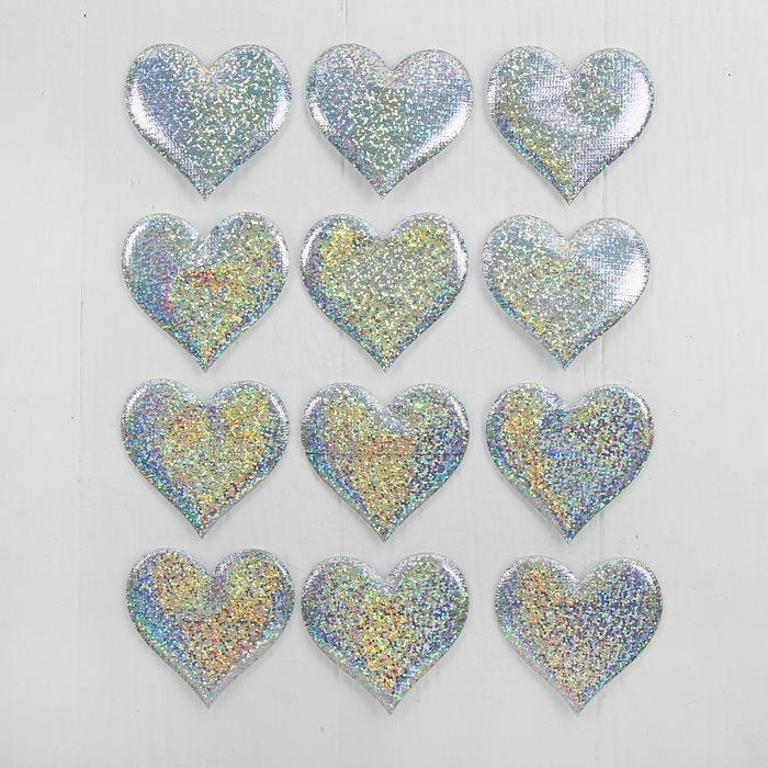 3944549 Сердечки декоративные, набор 12 шт, размер 1 шт 6,5*6 см, цвет серебристый