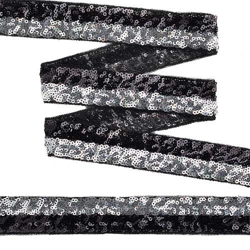 TDFP030121 Тесьма с пайетками с 2-мя полосками на сетке 30мм*13,7м, черный+серебро