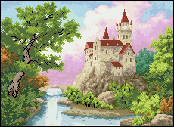 П-052 Канва с рисунком 'Гелиос' 'Замок у реки', 36х48 см