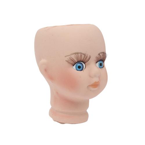 25139 Фарфоровая заготовка №2 'Голова для девочки': 4,5см*6,8см гл.-голуб.