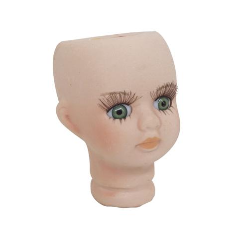 27033 Фарфоровая заготовка №2 'Голова для девочки': 4,5см*6,8см гл.-зелён.