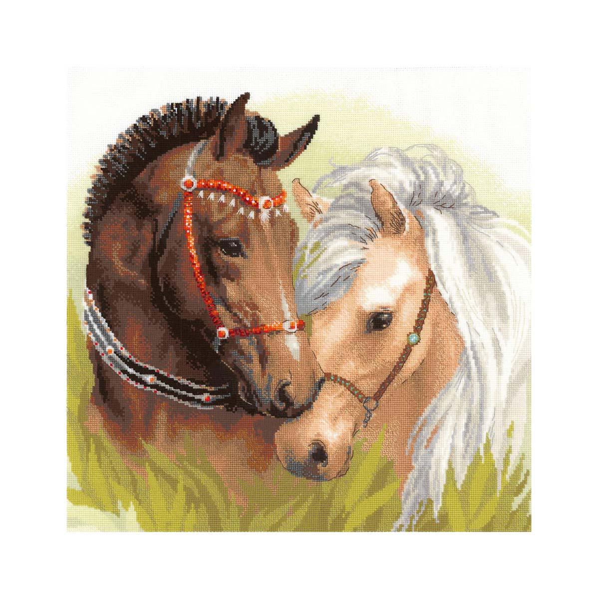 1864 Набор для вышивания Риолис 'Пара лошадей' 40*40 см