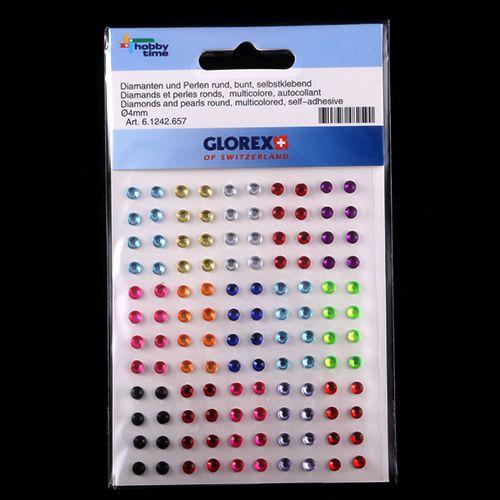 61242657 Стразы круглые 4мм, разноцветные, самоклеющиеся 120шт Glorex