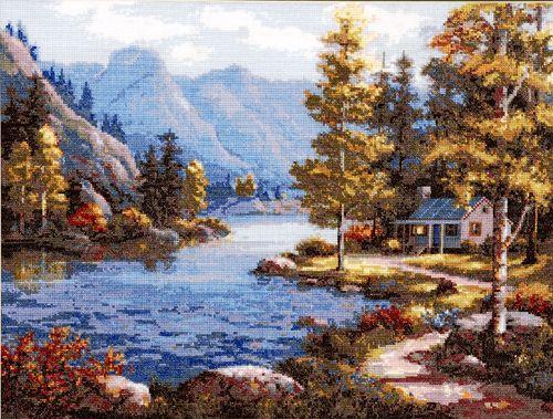 716 Набор для вышивания Hobby&Pro 'Пейзаж у реки', 42*32 см
