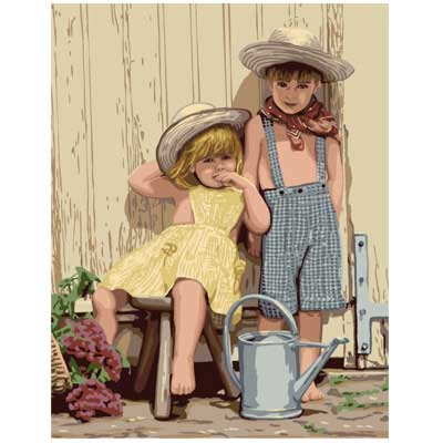 9880-0142-0539 Канва с рисунком Royal Paris 'Садоводы' 47,5х37 см