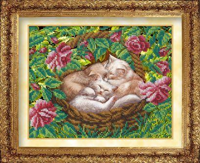 608 Набор для вышивания бисером 22,4*17,8см (Котята в лукошке арт.КН-600)