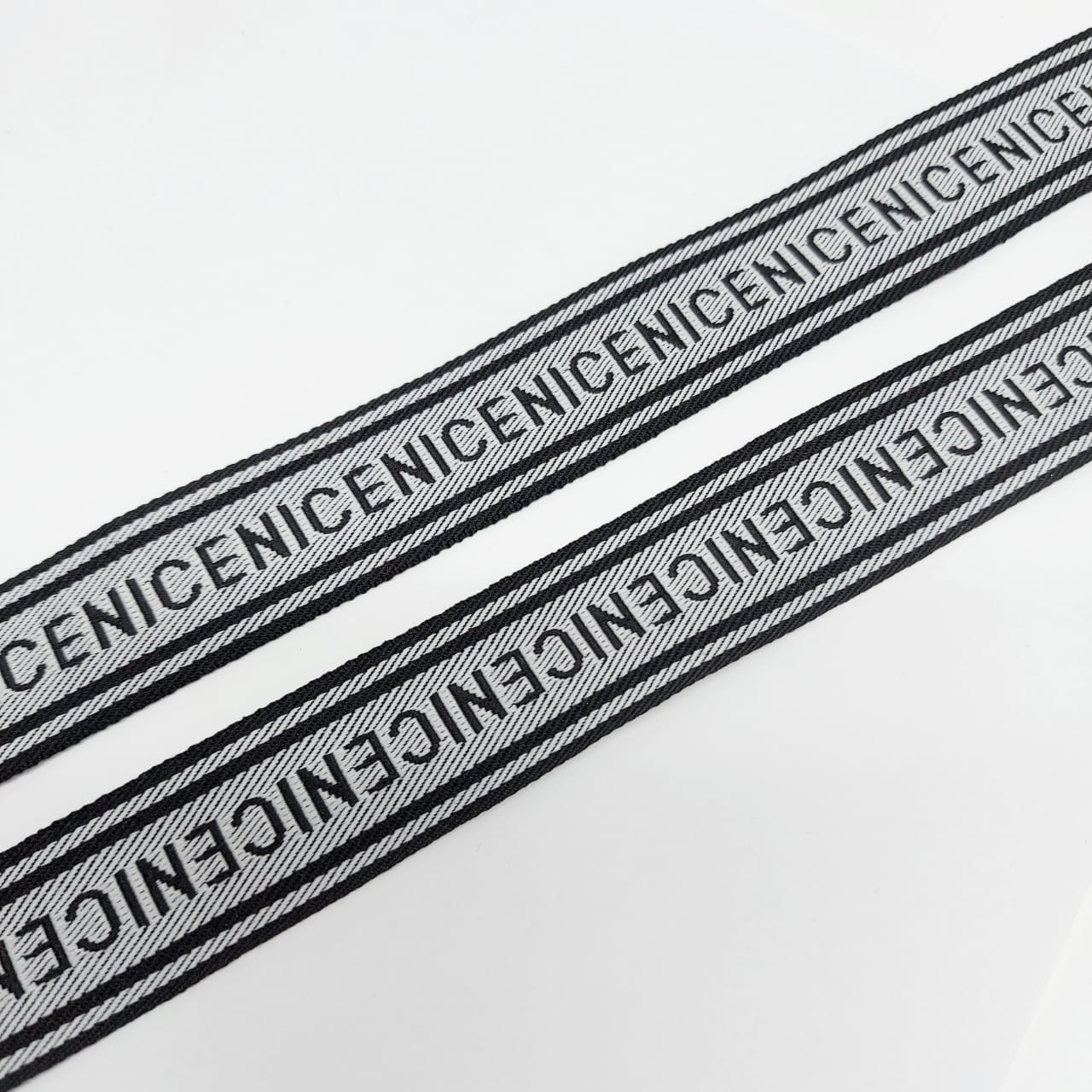 Тесьма серый черный NICE 2,5см 1 метр