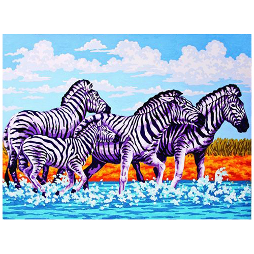 10360-CDA Канва с рисунком Collection D`Art 'Зебры' 40*50 см
