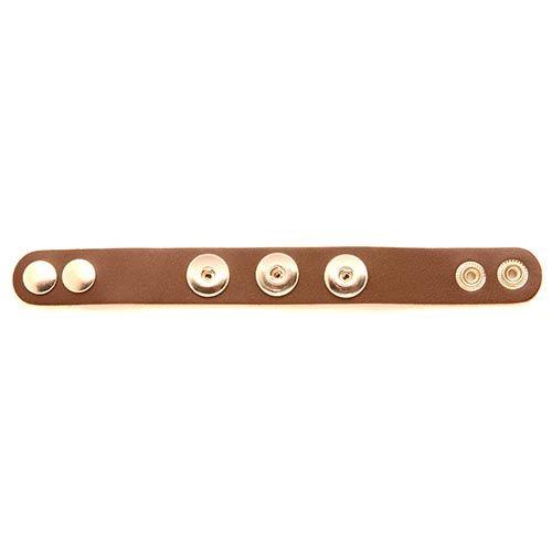 61632103 Кожаный браслет с 3 кнопками, 22 см, коричневый цвет Glorex